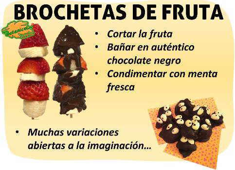 receta paso a paso de postre de bombones infantiles para niños, muñecos de chocolate y fruta