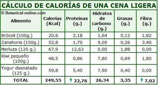 calculo de las calorias de una cena ligera de dieta