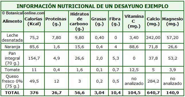 calorias informacion nutricional desayuno ejemplo