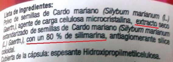 etiqueta extracto cardo mariano granero integral