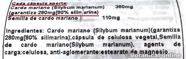 etiqueta extracto cardo mariano