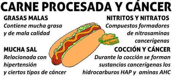 problemas sobre la carne procesada y noticia de la oms, cancer y sustancias o compuestos cancerigenos