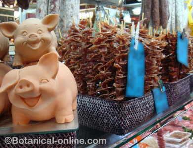 parada en un mercado de jamon