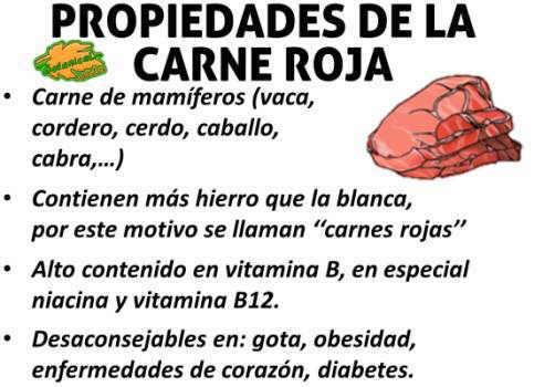 propiedades de la carne roja, ternera, cabra, caballo, cerdo, cabra, cordero, vitaminas y hierro