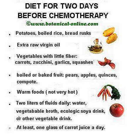 Chemoterapy diet instructions