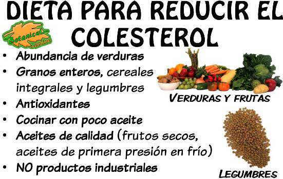 dieta para reducir el colesterol, alimentos recomendados