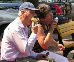 Dos personas comiendo helado