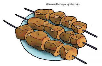 dibujo pinchitos de carne