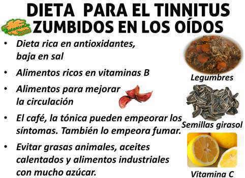dieta recomendada y alimentos para el tinnitus