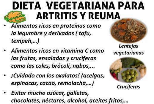 dieta vegetariana para la artritis y reuma, alimentos recomendados