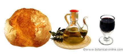 pan, vino y aceite