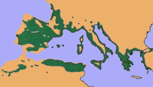 Área de distribución de la encina