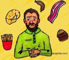 hombre con dolor biliar, alimentos ricos en colesterol que pueden provocar ataque