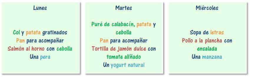 Ejemplos de cenas sanas para niños