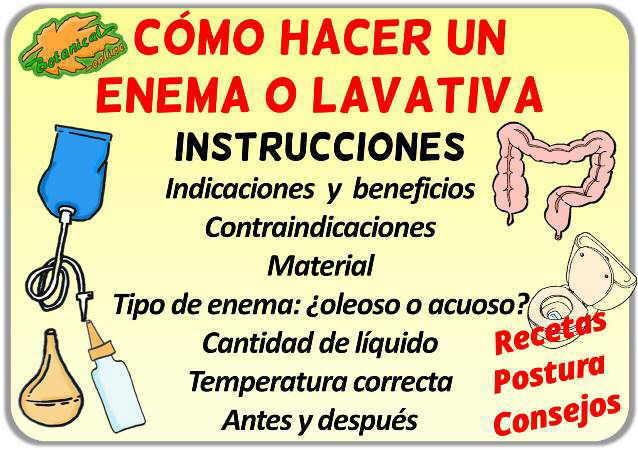 instrucciones como hacer enema o lavativa remedio paso a paso