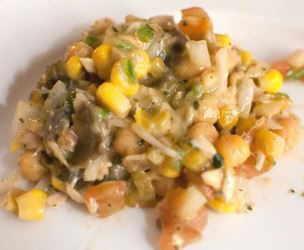 ensalada de garbanzos con maíz