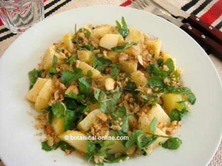 Ensalada de patatas con berros, nueces y pimienta