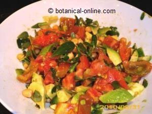 ensalada con verdolaga, tomate, aguacate