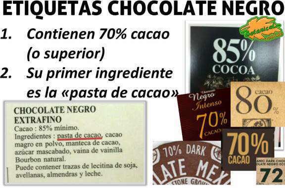 etiqueta de chocolate negro rico en cacao puro