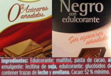 etiqueta de chocolate negro sin azucar con edulcorante