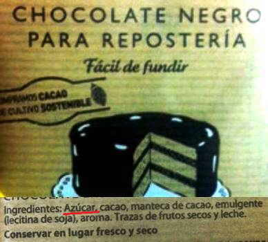 etiqueta de chocolate negro fondant con azucar