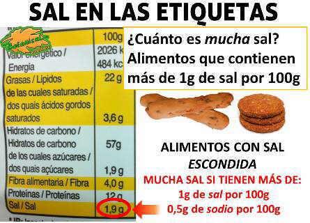 etiqueta alimentos con mucha sal o sodio