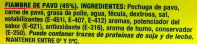 etiqueta fiambre ingredientes