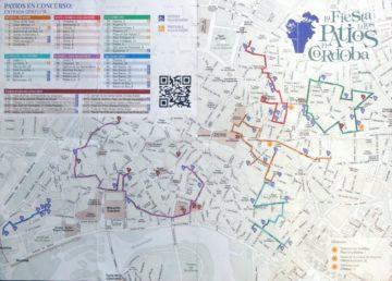 Plano de las rutas para visitar los patios de Cordoba