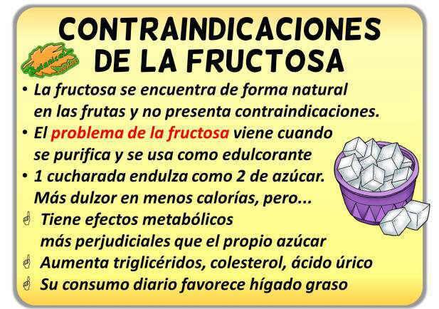 contraindicaciones de la fructosa edulcorante azucar de la fruta