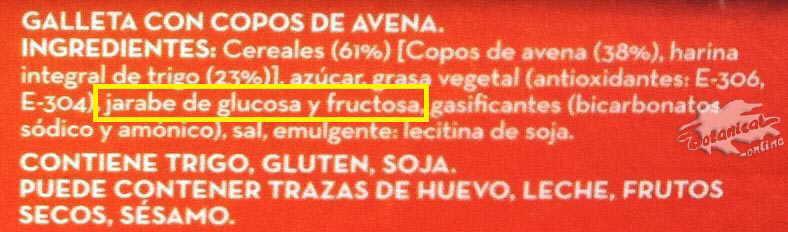 etiqueta galletas de avena ingredientes jarabe fructosa