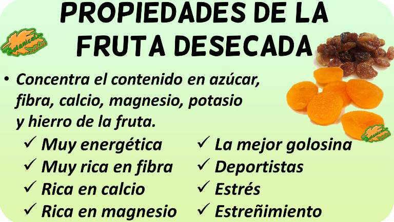 fruta seca propiedades nutricionales medicinales