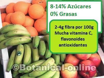 composicion nutricional de las frutas, fibra, azucares