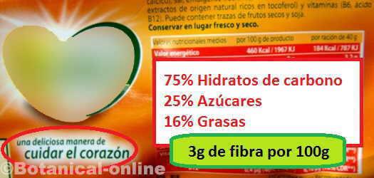 etiqueta de galletas integrales corazon, fibra, hidratos y grasas