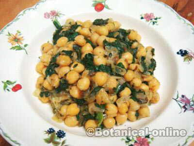 Photo of chickpeas with spinach