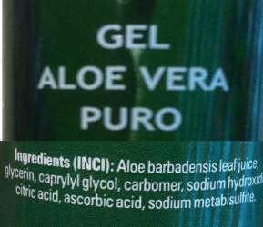 inci gel de aloe vera puro etiqueta