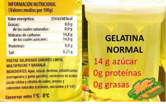 etiqueta gelatina cantidad proteínas mercadona