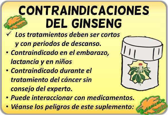 contraindicaciones del Panax ginseng