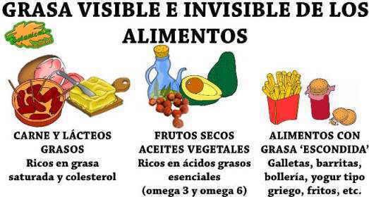 grasa visible e invisible de los alimentos ricos en grasas