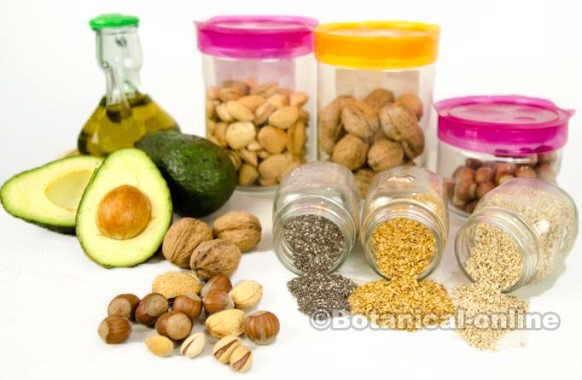 Fuente de grasas vegetales: aceite de oliva, el aguacate y los frutos secos