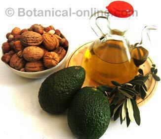 foto aceite vegetal, frutos secos, aguacate