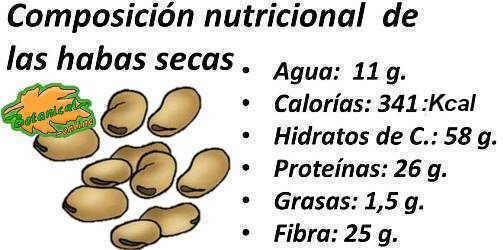 composicion nutricional de las habas secas