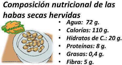 composicion nutricional de las habas secas cocidas