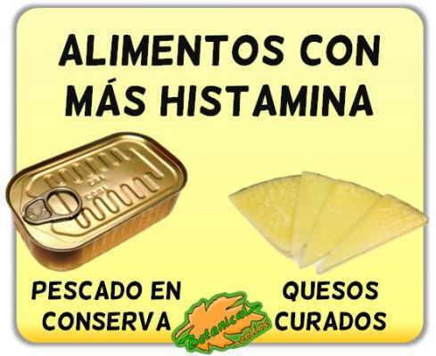 histamina alimentos ricos