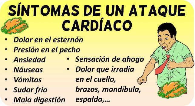 sintomas infarto cardiaco ataque corazon