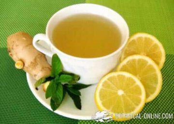Infusion con jengibre limon y menta