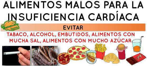 alimentos malos en la dieta para la insuficiencia cardiaca de corazon