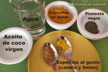 Ingredientes paso a paso receta leche dorada de curcuma