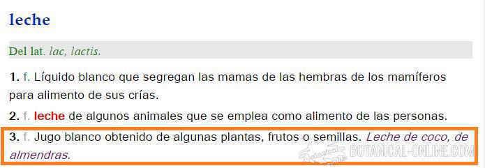 definicion leche vegetal real academia española castellano bebida vegetal