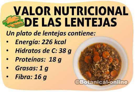 valor nutricional calorias proteinas grasas de las lentejas y beneficios
