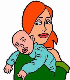 dibujo madre joven y bebe